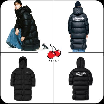 Street Style Long Oversized Logo Down Jackets
