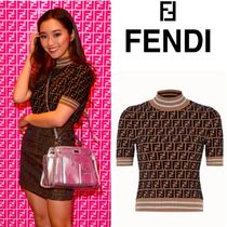 FENDI Monogram Short Sleeves High-Neck V-neck & Crew neck