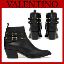 VALENTINO Casual Style Studded Plain Leather Block Heels Elegant Style
