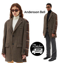ANDERSSON BELL Other Check Patterns Unisex Wool Nylon Chester Coats