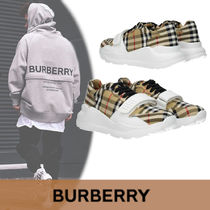 Burberry Other Check Patterns Blended Fabrics Plain Leather Sneakers
