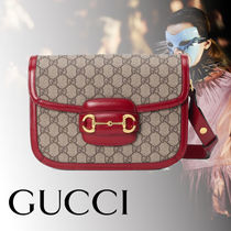GUCCI Monogram Canvas Blended Fabrics 2WAY Leather Shoulder Bags