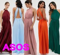 ASOS Maxi Chiffon Sleeveless Halter Neck Plain Dresses