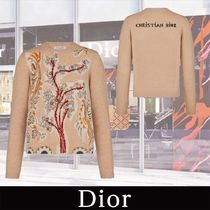 Christian Dior Crew Neck Flower Patterns Cashmere Long Sleeves Cashmere