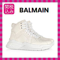 BALMAIN Lace-up Plain Leather Low-Top Sneakers