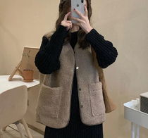 Casual Style Faux Fur Plain Shearling Vest Jackets