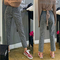 Printed Pants Leopard Patterns Casual Style Cotton Long