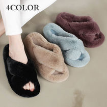 Open Toe Casual Style Faux Fur Plain Office Style Slippers