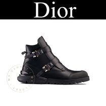 Christian Dior Plain Toe Street Style Plain Leather Handmade Engineer Boots