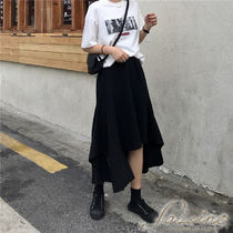 Casual Style Plain Long Midi Tired Asymmetry Maxi Skirts