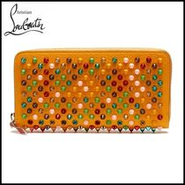 Christian Louboutin Unisex Studded Plain Leather Long Wallets