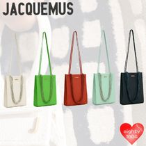 JACQUEMUS Casual Style Calfskin Street Style 2WAY Plain Party Style