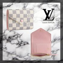 Louis Vuitton DAMIER AZUR Canvas Leather Folding Wallets