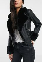 ASOS Faux Fur Plain Medium Eco Fur Biker Jackets