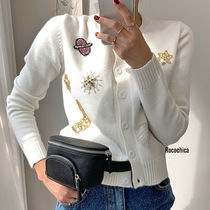 Short Star Casual Style Blended Fabrics Long Sleeves Cropped