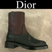 Christian Dior Wedge Plain Toe Casual Style Street Style Plain Leather