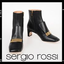 Sergio Rossi Square Toe Casual Style Blended Fabrics Plain Leather