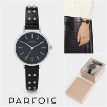 PARFOIS Casual Style Studded Round Analog Watches