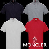 MONCLER Plain Short Sleeves Logos on the Sleeves Polos