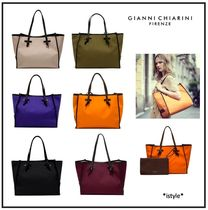 GIANNI CHIARINI Leopard Patterns 2WAY Plain Elegant Style Handbags