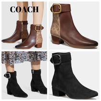 Coach Monogram Plain Toe Suede Plain Leather Block Heels