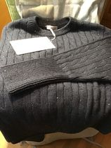 BRUNELLO CUCINELLI Crew Neck Casual Style Wool Cashmere Silk Blended Fabrics