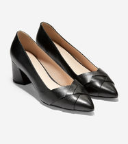 Cole Haan Plain Leather Office Style Chunky Heels