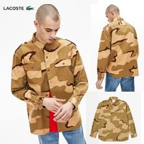 LACOSTE Button-down Camouflage Long Sleeves Cotton Shirts