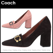 Coach Square Toe Casual Style Suede Plain Block Heels Office Style