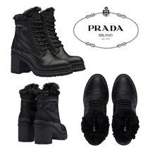 PRADA Rubber Sole Casual Style Plain Leather Block Heels