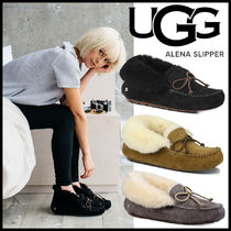 UGG Australia ALENA Round Toe Casual Style Suede Street Style Plain Flats