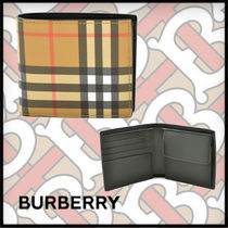 Burberry Tartan Unisex Blended Fabrics Plain Leather Folding Wallets