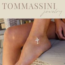 TOMMASSINI JEWELRY Cross Chain Silver 14K Gold Anklets