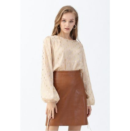 Chicwish Crocodile Print Faux Leather Skirt in Caramel