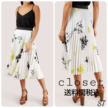 Flower Patterns Pleated Skirts Medium Elegant Style
