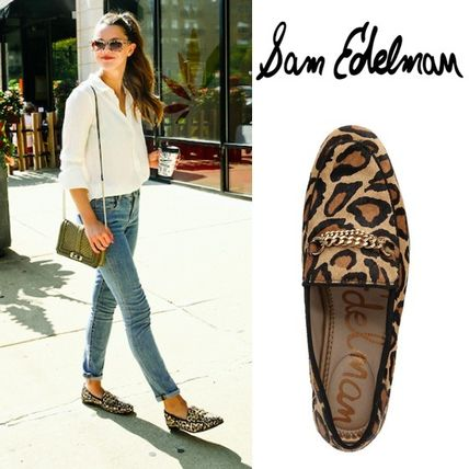 Leopard Patterns Plain Toe Casual Style Spawn Skin Plain
