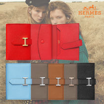 HERMES Bearn Plain Leather Folding Wallet Folding Wallets