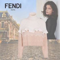 FENDI Short Casual Style Wool Cashmere Long Sleeves Lace