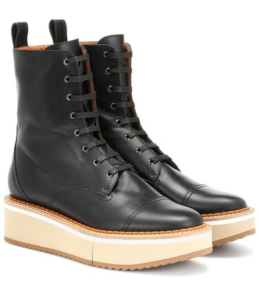 Round Toe Lace-up Casual Style Plain Leather Lace-up Boots