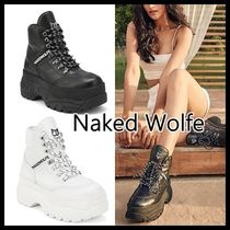 Naked Wolfe Platform Round Toe Casual Style Street Style Plain Leather