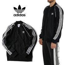 adidas Stripes Unisex Plain Logo Track Jackets