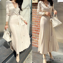 Wrap Dresses Casual Style V-Neck Long Sleeves Plain Long