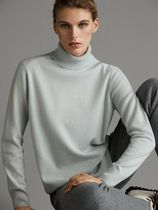 Massimo Dutti Wool Cashmere Long Sleeves High-Neck Elegant Style Cashmere