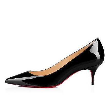 Enamel Plain Pin Heels Pointed Toe Pumps & Mules