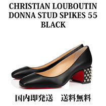 Christian Louboutin Square Toe Studded Plain Leather Block Heels