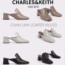 Charles&Keith Square Toe Casual Style Faux Fur Plain Block Heels