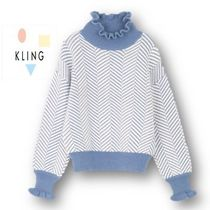 KLING Stripes Casual Style Long Sleeves Turtlenecks