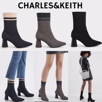 Charles&Keith Casual Style Blended Fabrics Plain Block Heels Elegant Style