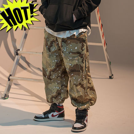 Printed Pants Camouflage Unisex Street Style Cotton