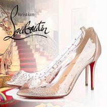 Christian Louboutin Open Toe PVC Clothing With Jewels Peep Toe Pumps & Mules